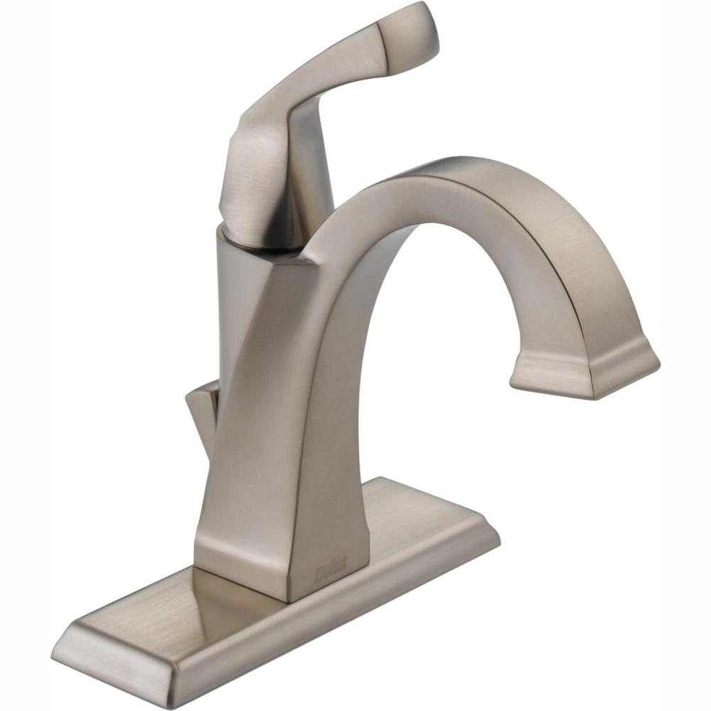 Delta Dryden Single Hole Single-Handle Bathroom Faucet with Metal Drain Assembly in SpotShield Stainless