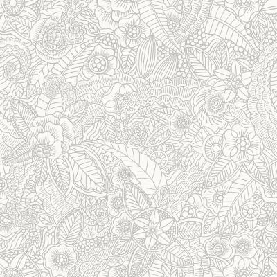8 in. x 10 in. Schunard Off-White Floral Wallpaper Sample