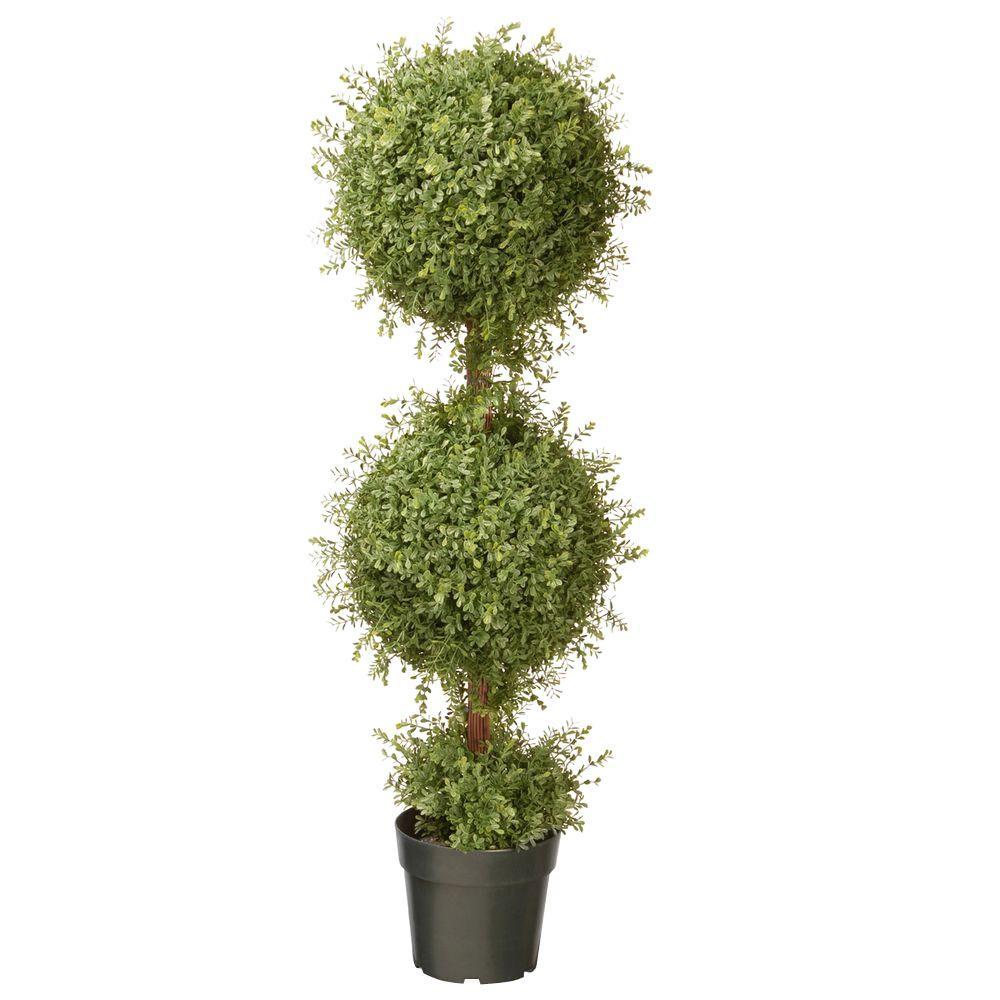 48 in. Mini Tea Leaf 2 Ball Topiary with Dark Green Round Pot