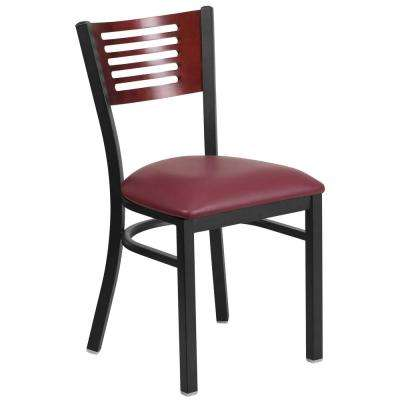 Hercules Series Black Decorative Slat Back Metal Restaurant Chair with Mahogany Wood Back, Burgundy Vinyl Seat