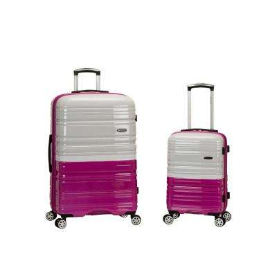 2Tone white/Pink Expandable 2-Piece Hardside Spinner Luggage Set