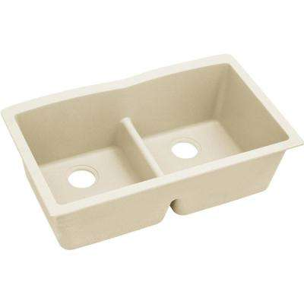 Luxe Undermount Quartz 33 in. L x 19 in. W Double Bowl Kitchen Sink in Parchment