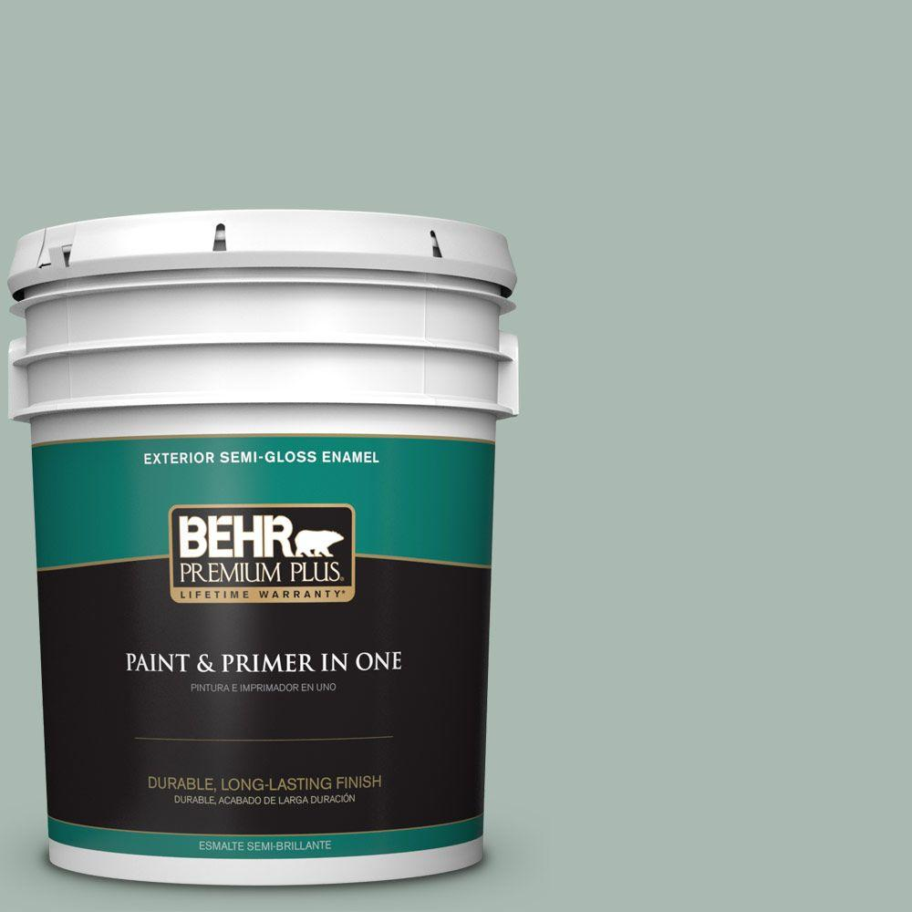5-gal. #BXC-85 Quiet Teal Semi-Gloss Enamel Exterior Paint