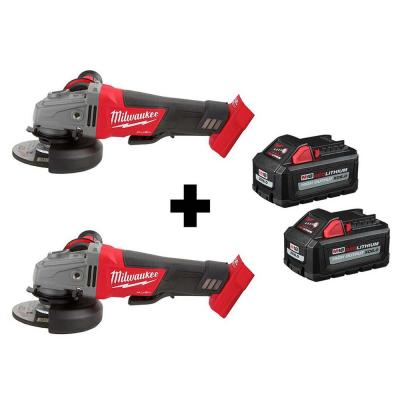 M18 FUEL 18-Volt 4-1/2 in./5 in. Lithium-Ion Brushless Cordless Grinder with Paddle Switch (2-Tool) with Batteries