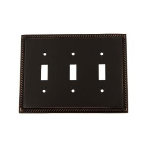 Nostalgic Warehouse Rope Switch Plate with Triple Toggle in Timeless Bronze by Nostalgic Warehouse