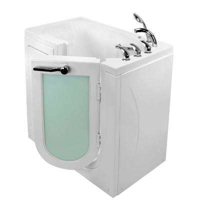 Mobile 45 in. Walk-In MicroBubble Air Bath Bathtub in White with Right Outward Swing Door, Faucet, RHS 2 in. Dual Drain