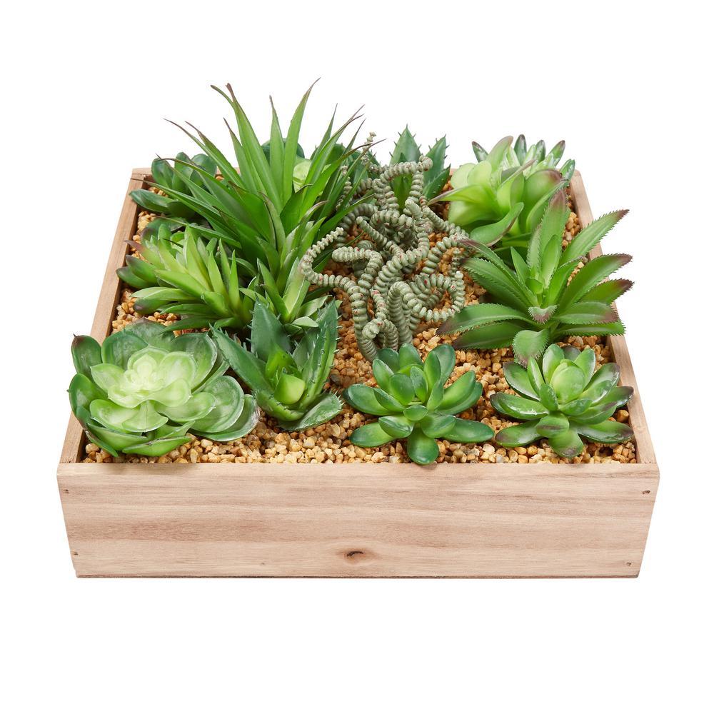 Assorted Faux Succulent Arrangement with Decorative Wooden Box