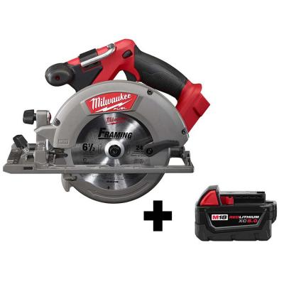M18 FUEL 18-Volt Lithium-Ion Brushless Cordless 6-1/2 in. Circular Saw W/ Free M18 5.0 Ah Battery