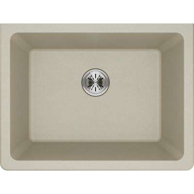 Quartz Classic Perfect Drain Undermount 25 in. Laundry Sink in Bisque