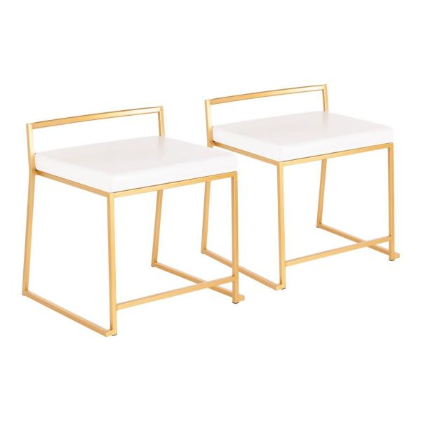 Lumisource Fuji Stackable Dining Chair in Gold Metal and White Faux