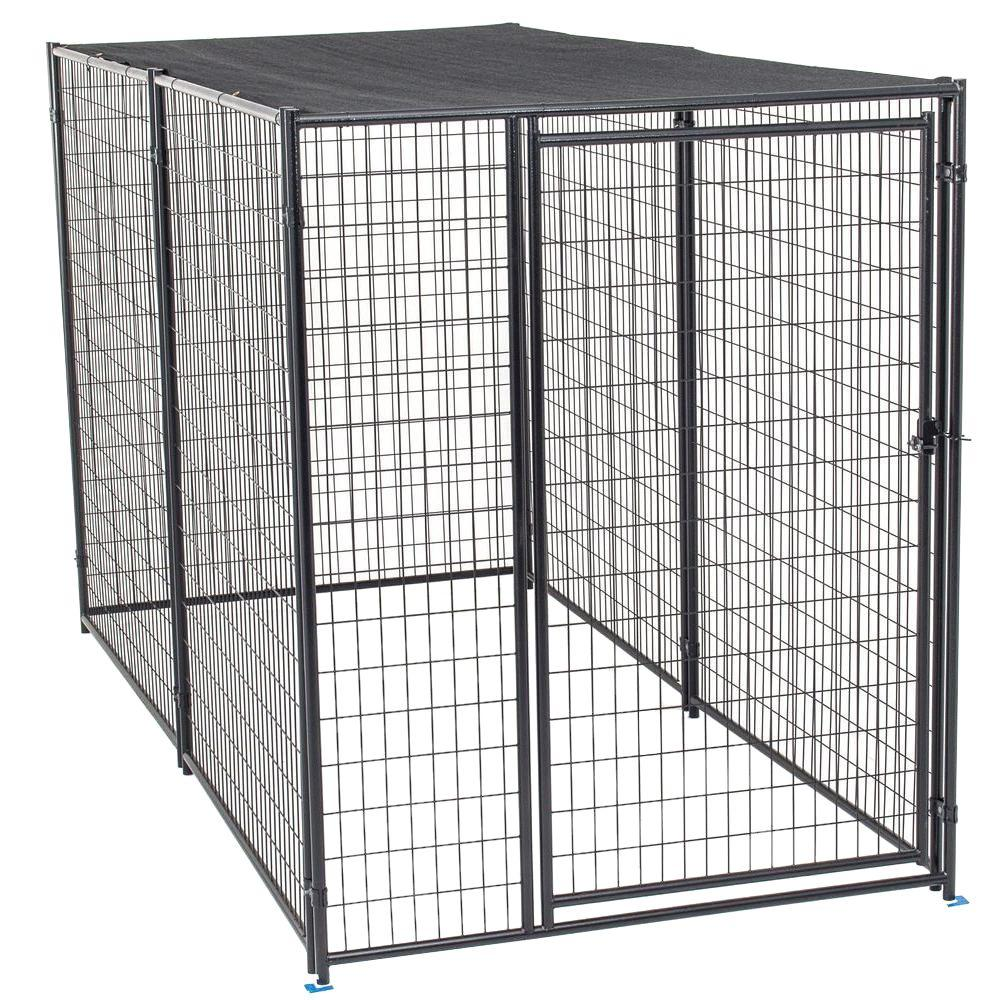 lucky dog 6 ft h x 5 ft w x 10 ft l modular kennel with shade