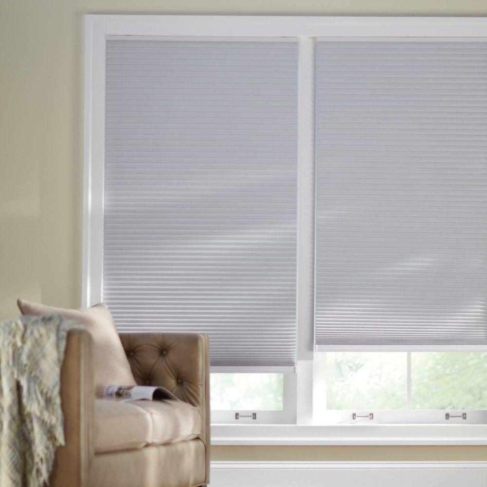 Home Decorators Collection Cut-to-Width Shadow White 9/16 in. Blackout Cordless Cellular Shade - 40.5 in. W x 72 in. L