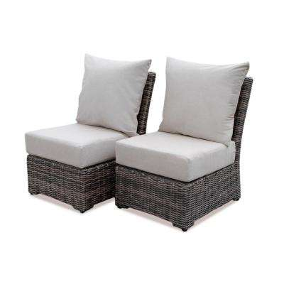Cherry Hill Wicker Outdoor Lounge Chair with Cast Ash Cushion (2-Pack)