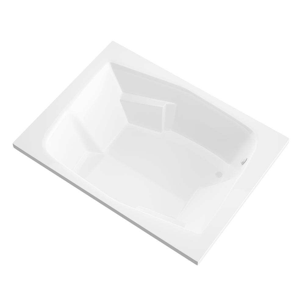 Universal Tubs Amethyst 6 ft. Acrylic Center Drain Rectangular Drop-in Non-Whirlpool Bathtub in White