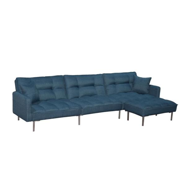 109 In Blue Sectional 4-Seat Sofa Bed L Shaped Couch Sleeper with 2 Pillows and Reversible Ottoman