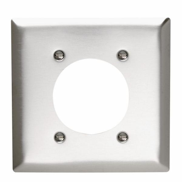 Pass & Seymour 430S/S 2 Gang Single Power Outlet 2.156-in. Hole Wall Plate, Stainless Steel (1-Pack)