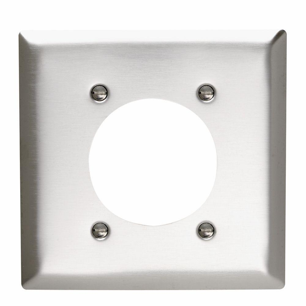 Legrand Pass & Seymour 2-Gang 1 Power Outlet Wall Plate - Stainless ...
