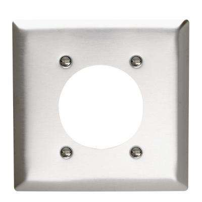 2-Gang 1 Power Outlet Wall Plate - Stainless Steel