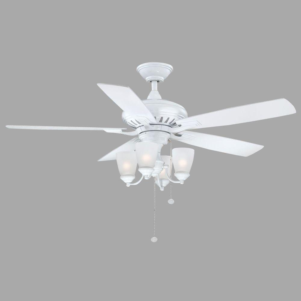 Hugger 52 In Led Indoor White Ceiling Fan With Light Kit