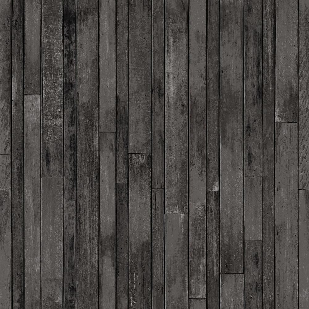 Azelma Charcoal Wood Paper Strippable Wallpaper (Covers 56.4 sq. ft.)
