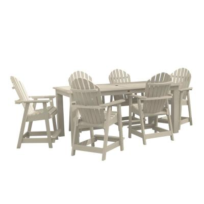 Hamilton Whitewash 7-Piece Recycled Plastic Rectangular Outdoor Balcony Height Dining Set