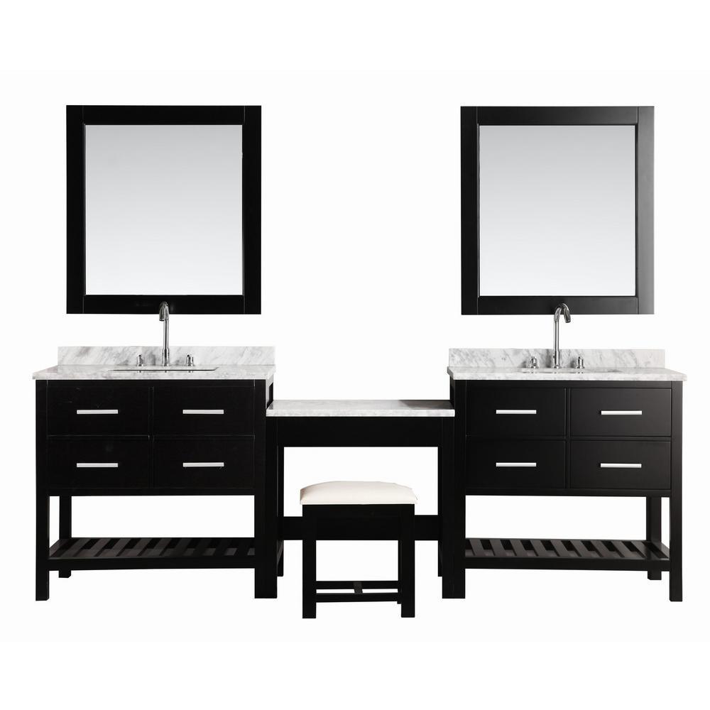 Design Element London Vanity Espresso Marble Vanity Top White Mirror