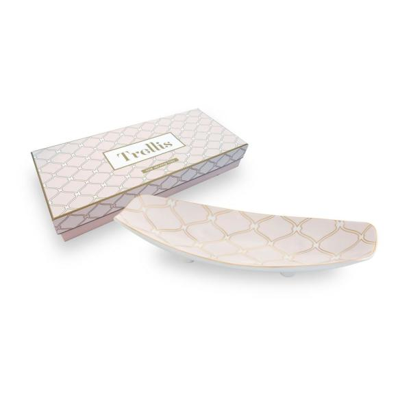 Rosanna Trellis 13 in. x 5.5 in. Ceramic Footed Tray