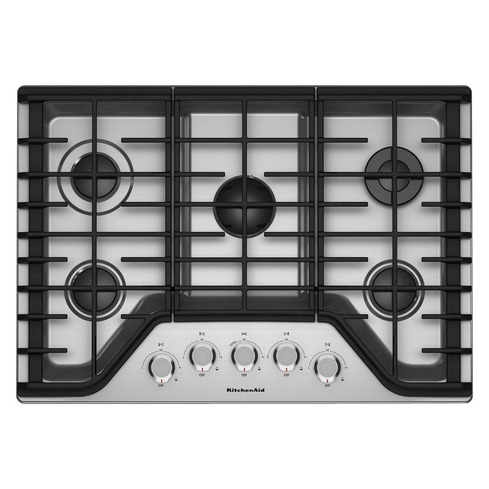 Gas Cooktop In Stainless Steel With 5 Burners Including A Multi