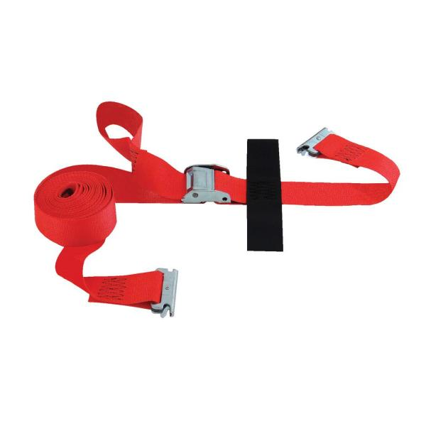 16 ft. x 2 in. Cam Buckle E-Strap with Hook and Looper Storage Fastener in Red