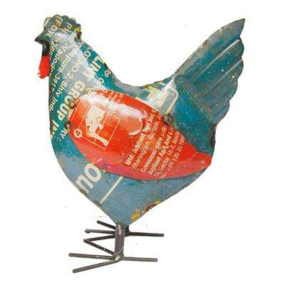 13.25 in. Handcrafted Recycled Iron Happy Hen Garden Statue