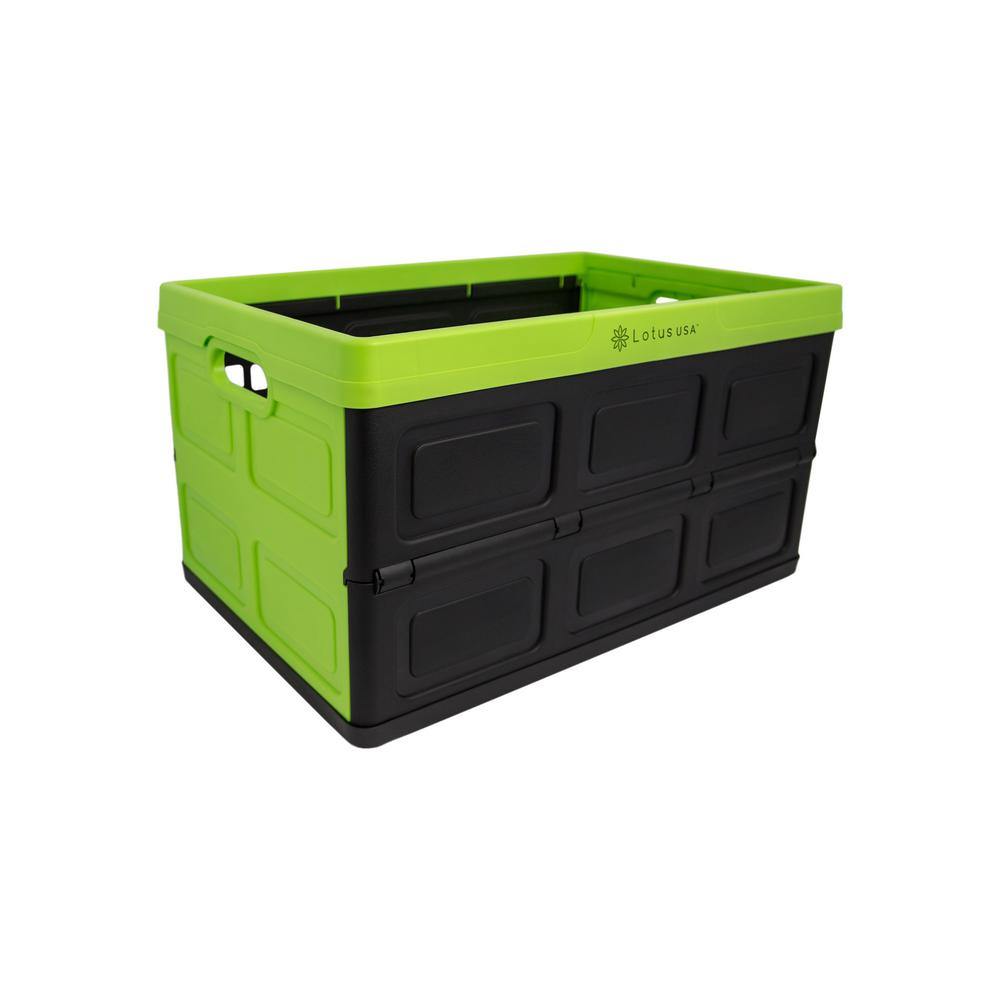 Lotus USA Foldable 48 Qt. Hardside Storage Crate in Green/Black