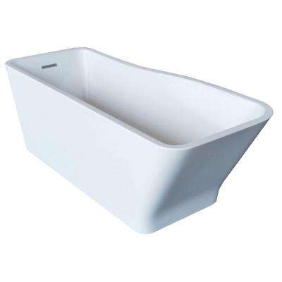 PureCut 5.8 ft. Acrylic Center Drain Rectangular Bathtub in White