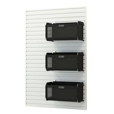Modular Garage Wall Panel Set with Storage Bins in White