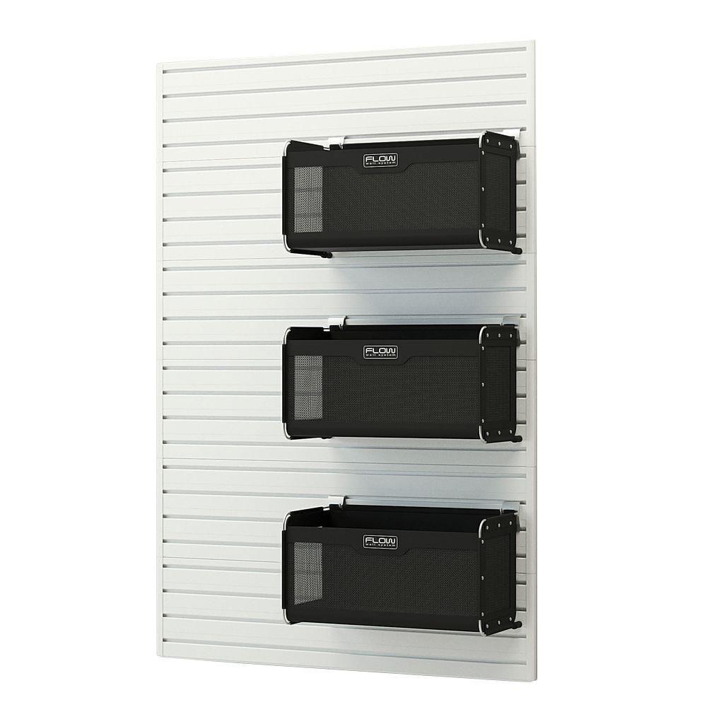 Modular Garage Wall Panel Set with Storage Bins in White
