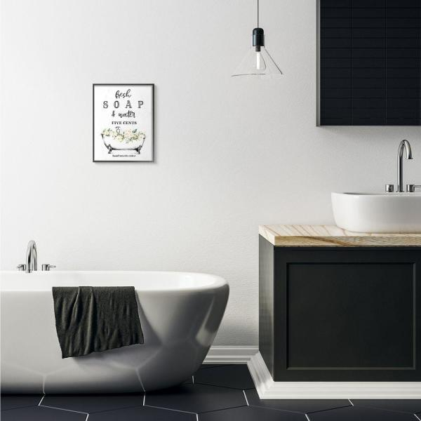 Stupell Industries Fresh Soap And Water Bath Tub Bathroom Design By Lettered And Lined Framed Wall Art 14 In X 11 In Wrp 1398 Fr 11x14 The Home Depot