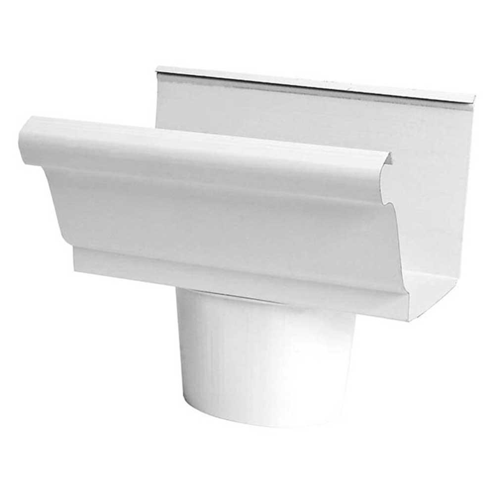 ConstructionMetals Construction Metals 4 in. White Steel K-Style Gutter End Piece with Drop