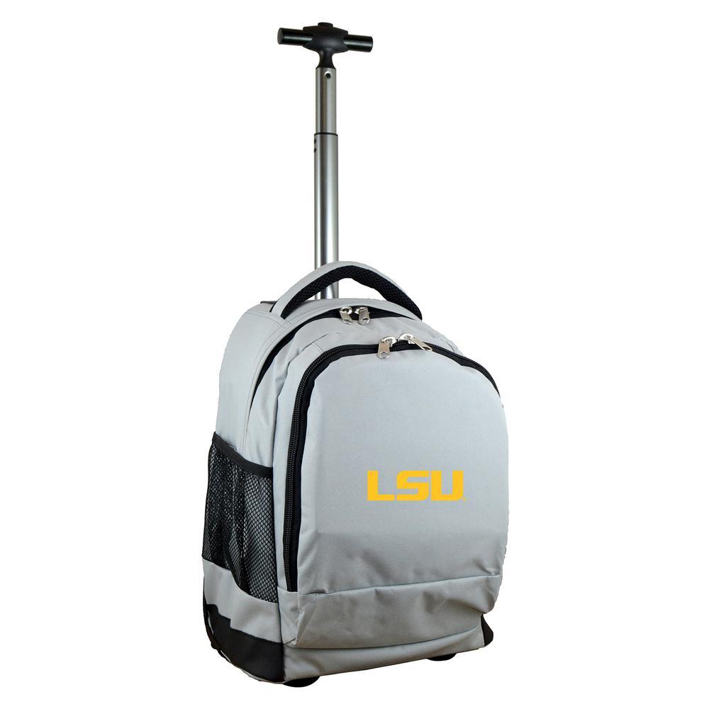 NCAA LSU 19 in. Gray Wheeled Premium Backpack