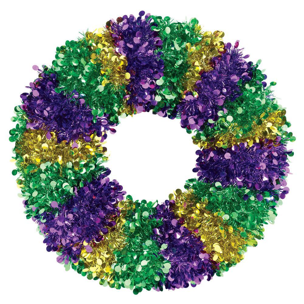 17 in. Mardi Gras Jumbo Tinsel Wreath (2-Pack)
