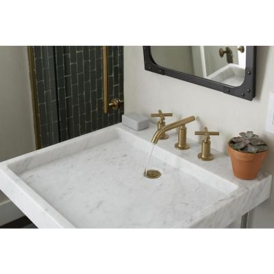 Purist 8 in. Widespread 2-Handle Low-Arc Bathroom Faucet in Vibrant Moderne Brushed Gold with Low Cross Handles