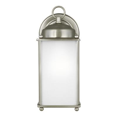 New Castle 1-Light Antique Brushed Nickel Outdoor Wall Lantern
