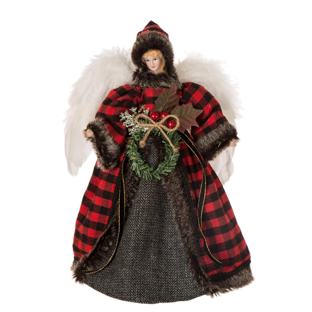 Christmas Tree Angel Tree Topper: Glitzhome 12 In. H Plaid Angel Christmas Tree Topper