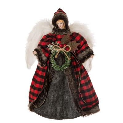 12 in. H Plaid Angel Christmas Tree Topper Decoration