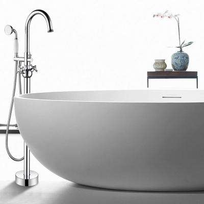 48 in. H x 12 in. W Single-Handle Claw Foot Tub Faucet with Hand Shower in Polished Chrome