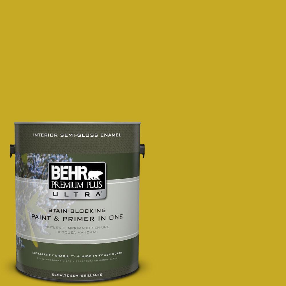 BEHR Premium Plus Ultra Home Decorators Collection 1-gal. #HDC-MD-03 Citronette Semi-Gloss Enamel Interior Paint