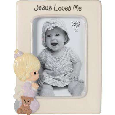 4 in. x 6 in. Multi Colored Gloss Ceramic Praying Girl With Teddy Bear Picture Frame