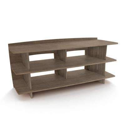 53 in. x 24 in. Entertainment Center Shelving Unit with Solid Wood in Grey Driftwood Color