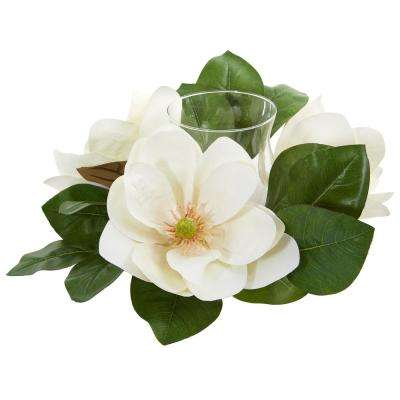 Indoor 13 in. Magnolia Artificial Arrangement Candelabrum