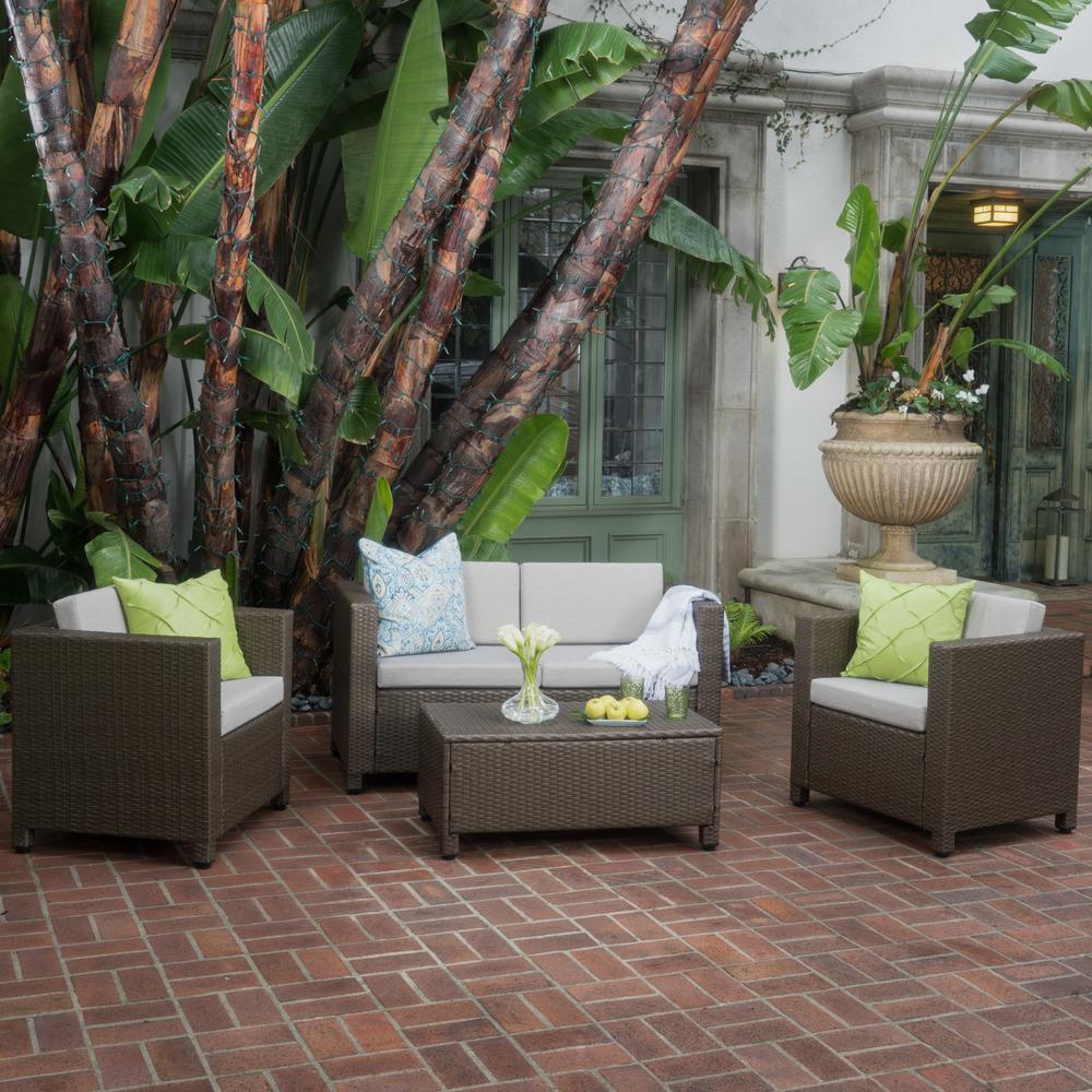 Puerta Brown 4-Piece Wicker Patio Conversation Set with Grey Cushions