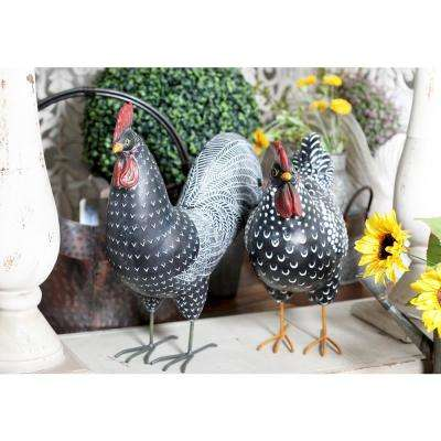 Rooster Polystone Sculpture in Black (Set of 2)