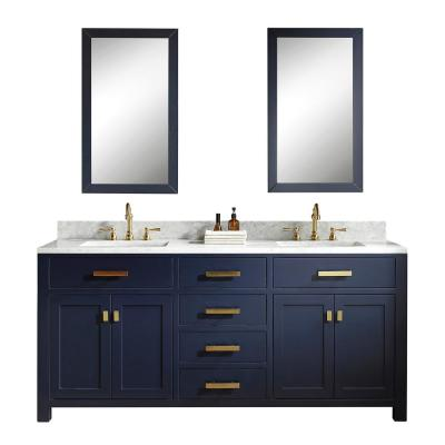 Madison 72 in. Bath Vanity in Monarch Blue w/Carrara White Marble Vanity Top w/White Basins and Mirrors